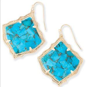 Kirsten Drop Earrings in Bronze Veined Turquoise
